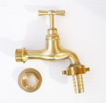 "Antique Style Polished Brass Tap. 1/2"" BSP Thread. c/w 1/2"" Hose Tail & Back Nut"